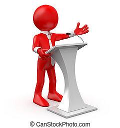 man, röd, konferens, talande