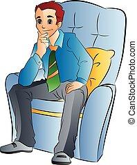 man, stol, mjuk, illustration, sittande