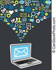 marknadsföra, plaska, email, kampanj, ikon