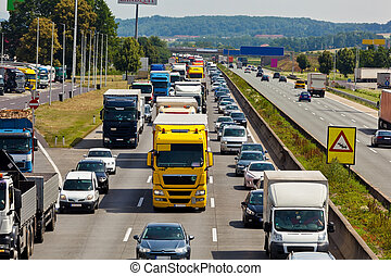 marmelad, trafik, motorväg