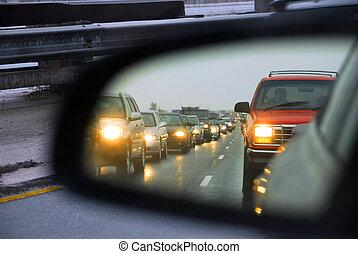marmelad, trafik, spegel