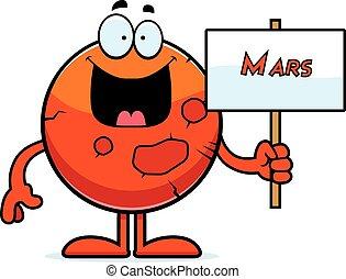 mars, tecknad film, underteckna