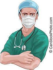maskera, eller, läkare, sköta, skura, ppe, kirurgisk