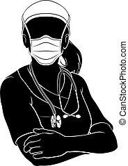 maskera, silhuett, läkare, sköta, kvinna, ppe, skura