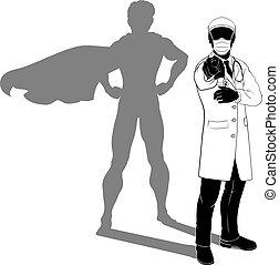 maskera, silhuett, ppe, hjälte, skugga, toppen, läkare