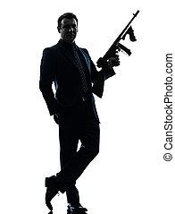 maskin, holdingen, silhuett, man, gangster, thompson, gevär