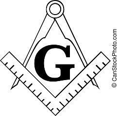 masonic, kompass, fyrkant, freemason, symbol