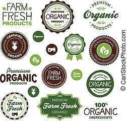 mat, etiketter, organisk