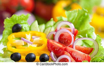 mat, grönsak, frisk, sallad, hälsosam