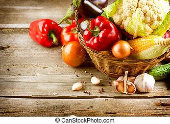 mat, hälsosam, organisk, vegetables., bio