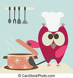 matlagning, söt, uggla, skråla