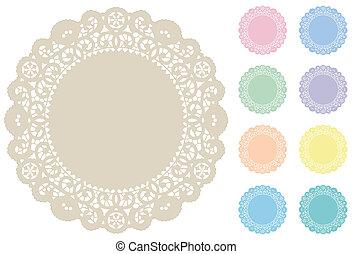 mats, pastellfärger, plats, spets, tallriksunderlägg