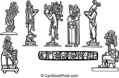 mayan, grupp, tempel