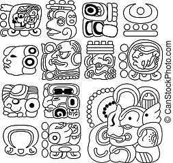 mayan, hieroglyfer