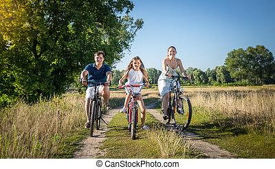 meadow., begrepp, familj, ung, bicycles, ridande, sport