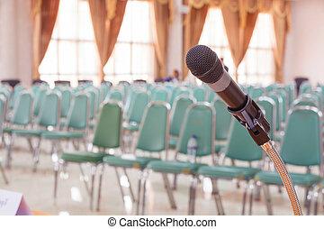 meddelande, närbild, rum, mikrofon, möte, tom