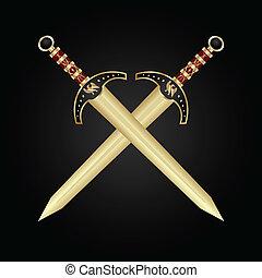 medeltida, svärd, isolerat, två