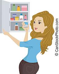 medicin, flicka, öppning, kabinett