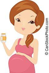 medicin, flicka, illustration, gravid