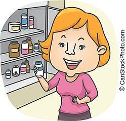 medicin, flicka, kontroll, kabinett