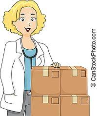 medicin, flicka, rutor, läkare