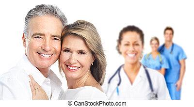 medicinsk, patient., par, äldre, läkare