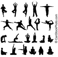 meditation, silhouettes