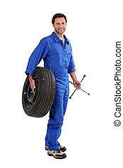 mekaniker, holdingen, däck