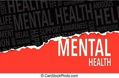mental, bakgrund, ord, hälsa