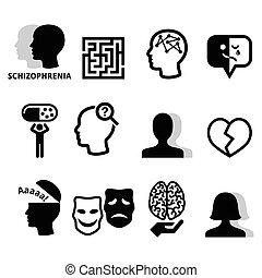 mental, ikonen, hälsa, schizofreni
