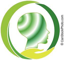 mental, logo, omsorg, hälsa
