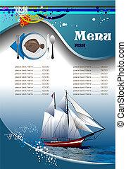 meny, fish, (cafe), restaurang