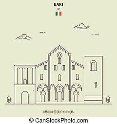 micholas, italy., gränsmärke, basilika, bari, helgon, ikon