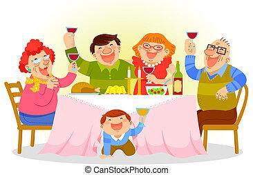 middag, familj