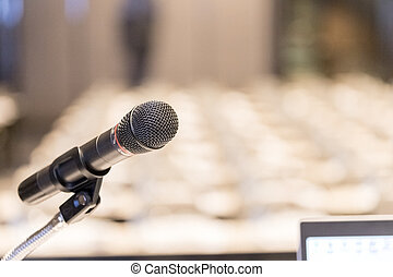 mikrofon, nära, salong, podium, uppe