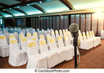 mikrofon, rum, upp slut, möte, seminarium
