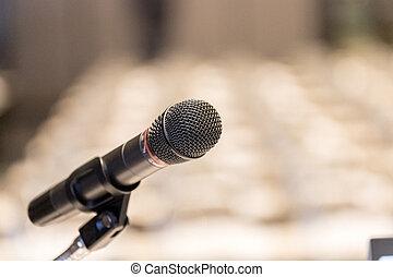 mikrofon, uppe, salong, podium, nära