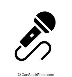 mikrofon, vektor, ikon, audio