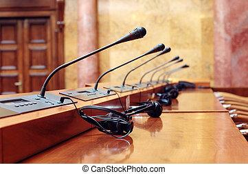 mikrofoner, konferens, room., konferens, startande, tom