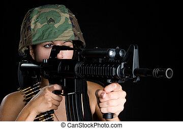 militär, kvinna
