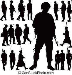 militär, silhouettes
