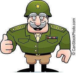 militär, tecknad film, general, uppe, tummar