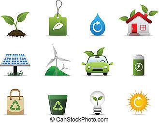 miljö, grön, ikon
