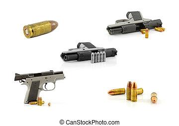 millimeter, isolerat, bakgrund., svart, 9, vit, handeldvapen