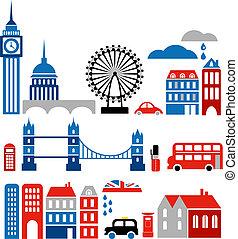 milstolpar, vektor, london, illustration