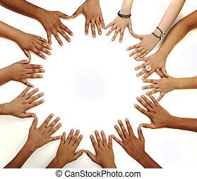 mitt, avskrift tomrum, tillverkning, bakgrund, begreppsmässig, vit, blandras, barn, symbol, cirkel, räcker