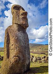 moai, ö, ahu tongariki, staty, påsk
