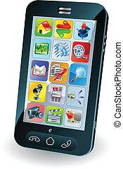 mobil, färsk, smart, ringa