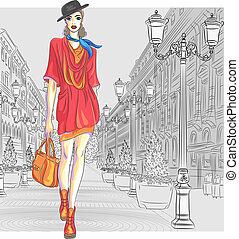 mode, st., vektor, attraktiv, går, flicka, petersburg