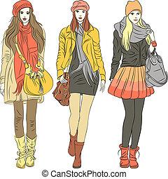 mode, stilig, flickor, varm, vektor, kläder